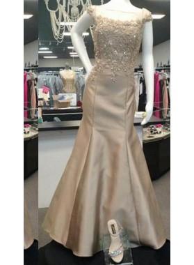 Appliques Bateau Mermaid/Trumpet Satin Champagne Prom Dresses