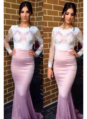Long Sleeve Mermaid/Trumpet Satin 2019 Glamorous Pink Prom Dresses