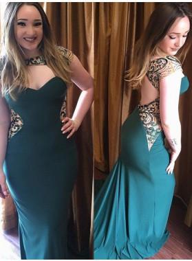 Backless Beading Sweep Train Mermaid/Trumpet Stretch Satin Dark Green Prom Dresses