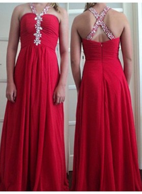 2019 Gorgeous Red Beading Halter Column/Sheath Stretch Satin Prom Dresses
