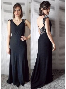 2019 Junoesque Black Beading V-Neck Column/Sheath Chiffon Prom Dresses
