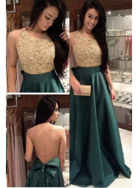 Beading A-Line/Princess Satin Prom Dresses Dark Green