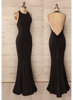 2019 Junoesque Black Sexy Sleeveless Backless Floor-Length/Long Mermaid/Trumpet Prom Dresses