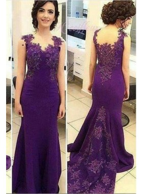 Appliques Sweep/Brush Train Mermaid/Trumpet Satin Purple Prom Dresses