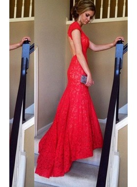 2018 Gorgeous Red Backless Sweetheart Mermaid/Trumpet Lace Prom Dresses