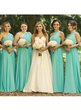2021 Chiffon One Shoulder A Line Turquoise Long Bridesmaid Dresses