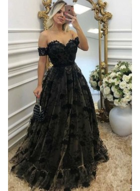 Black Lace Off The Shoulder Sweetheart Prom Dresses