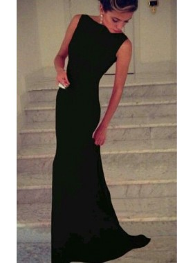 2021 Elegant Black Column/Sheath Satin Prom Dresses