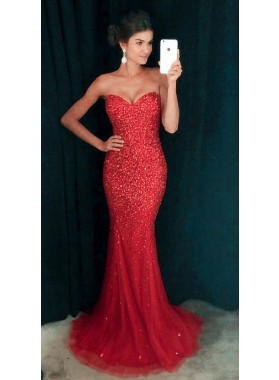 2021 Siren Red Mermaid/Trumpet Tulle Sequence Prom Dresses