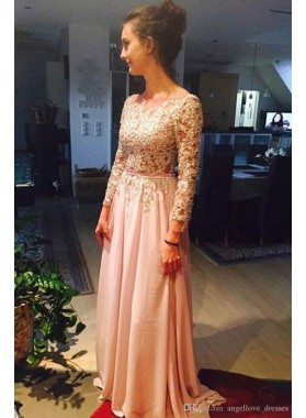 2019 Charming Princess/A-Line Chiffon Blushing Pink Long Sleeves Prom Dresses