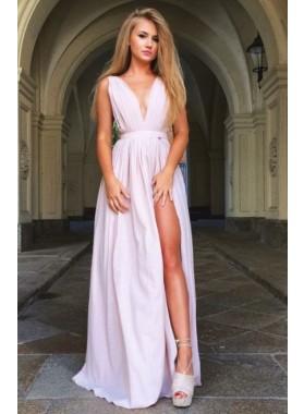 2019 Cheap V-neck Satin Prom Dresses Side Slit