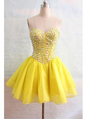 Princess/A-Line Knee Length Daffodil Chiffon Sweetheart Short Prom Drses