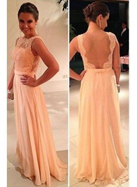 Floor-Length/Long Scoop Neck A-Line/Princess Chiffon Prom Dresses