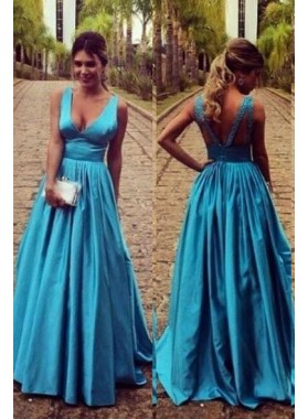 LadyPromDress 2021 Blue Floor-Length/Long A-Line/Princess Straps Taffeta Prom Dresses