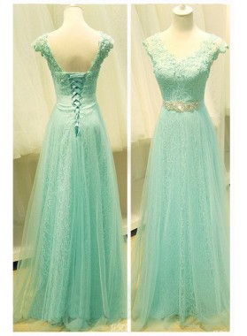Floor-Length/Long A-Line/Princess V-Neck Organza Prom Dresses