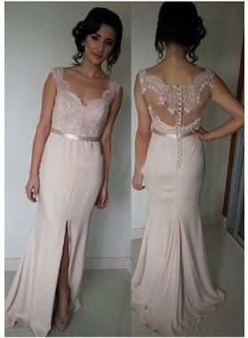 Floor-Length/Long V-Neck Column/Sheath Chiffon Pearl Pink Prom Dresses