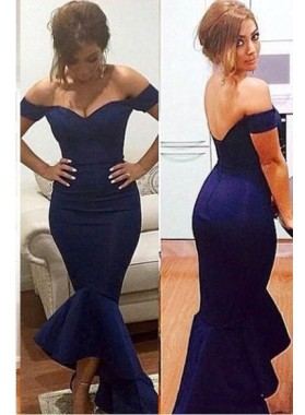 Navy Blue Floor-Length/Long Off-the-Shoulder Mermaid/Trumpet Satin Prom Dresses