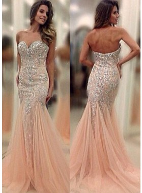 Floor-Length/Long Sweetheart Mermaid/Trumpet Organza Prom Dresses