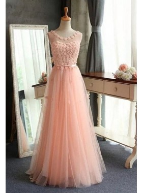 Floor-Length/Long Round Neck A-Line/Princess Tulle Prom Dresses