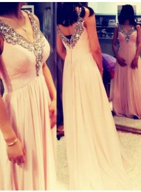 Beading Floor-Length/Long Empire Waist Chiffon 2019 Glamorous Pink Prom Dresses