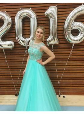 Beading A-Line/Princess Tulle Prom Dresses LadyPromDress 2019 Blue