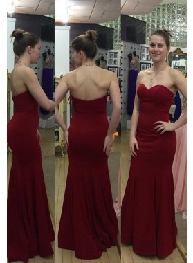 Burgundy Floor-Length/Long Sweetheart Satin Prom Dresses