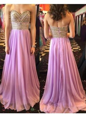 Beading A-Line/Princess Chiffon Prom Dresses Lilac