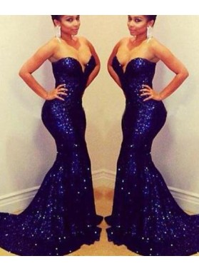 LadyPromDress 2021 Blue Floor-Length/Long Sweetheart Mermaid/Trumpet Sequined Prom Dresses