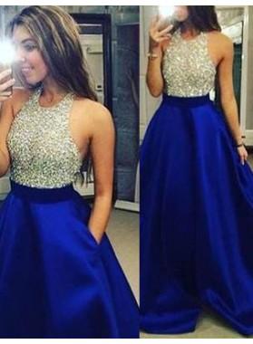 LadyPromDress 2020 Blue Beading Halter A-Line/Princess Satin Prom Dresses