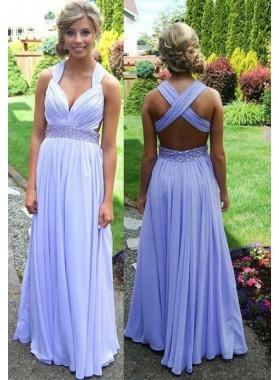 Beading Criss-Cross Straps Chiffon Lavender Prom Dresses