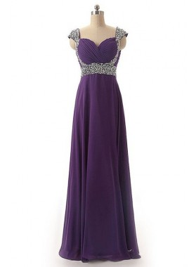 Ruching Beading Queen Anne Satin Prom Dresses