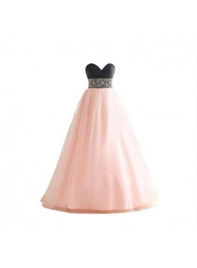 A-Line/Princess Sweetheart Empire Waist Tulle 2019 Glamorous Pink Prom Dresses