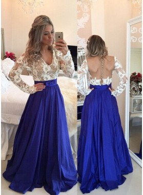 Royal Blue Prom Dresses A-Line/Princess V-Neck Backless Taffeta