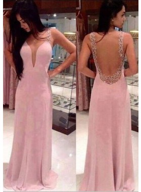 Prom Dresses Floor-Length/Long A-Line/Princess Straps Sweep/Brush Train Chiffon
