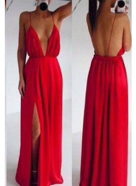 2019 Gorgeous Red Prom Dresses Column/Sheath Spaghetti Straps Chiffon