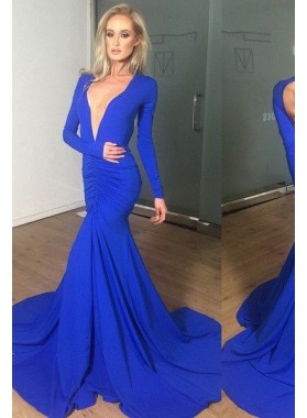 LadyPromDress 2019 Blue Prom Dresses Mermaid/Trumpet V-Neck Ruching Stretch Satin