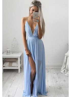 LadyPromDress 2021 Blue Prom Dresses Floor-Length/Long A-Line/Princess Spaghetti Straps Chiffon