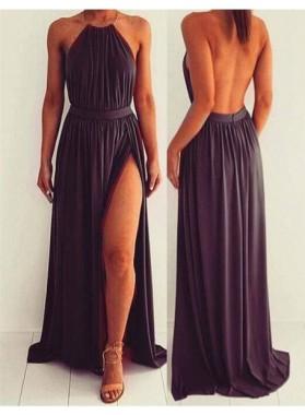 Floor-Length/Long A-Line/Princess Halter Split Front Chiffon Prom Dresses