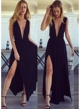 2019 Junoesque Black Prom Dresses Floor-Length/Long A-Line/Princess Backless Deep V-Neck Chiffon