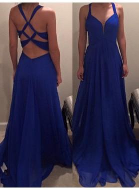 Royal Blue Prom Dresses A-Line/Princess Criss Cross Backless Chiffon