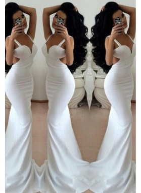 2019 Unique White Prom Dresses Floor-Length/Long Mermaid/Trumpet  Straps Chiffon