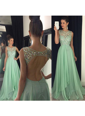 Prom Dresses Sage Green Floor-Length/Long A-Line/Princess Scoop Crystal Detailing Chiffon
