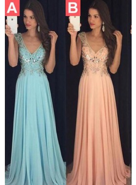 LadyPromDress 2021 Blue Prom Dresses Floor-Length/Long A-Line/Princess V-Neck Sequins Chiffon