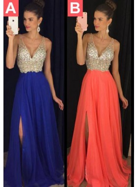 Prom Dresses Royal Blue Floor-Length/Long A-Line/Princess Straps Sequins Chiffon
