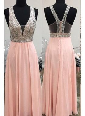 Beading Straps Chiffon Prom Dresses 2019 Glamorous Pink