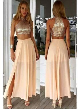 Sequins Tea-length Chiffon Two Pieces Prom Dresses