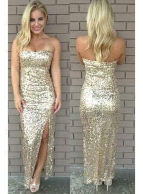 Strapless High-Slit Column/Sheath Sequined Prom Dresses