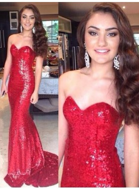 2020 Gorgeous Red Floor-Length/Long Sweetheart Mermaid/Trumpet Sequined Prom Dresses