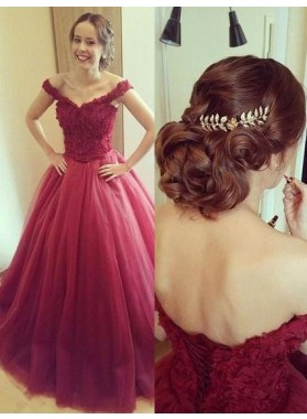 2021 Gorgeous Red Off-the-Shoulder Ball Gown Tulle Prom Dresses