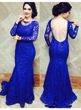 LadyPromDress 2019 Blue Bateau Neck Mermaid/Trumpet Lace Prom Dresses